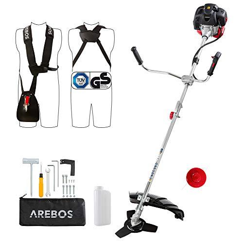 Arebos Benzin 2in1 Rasentrimmer/Motorsense 3PS, 52ccm mit Komfort-Tragegurt und ergonomische Griffe