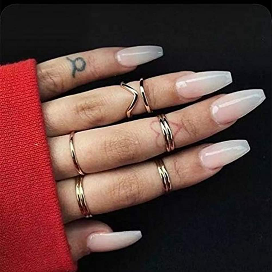 Skyvan 24 PCS/Set French Long Coffin Cream Nude Press On False Nails Ballerina Nails Full Cover Fake Nails with Glue and Adhensive Tab