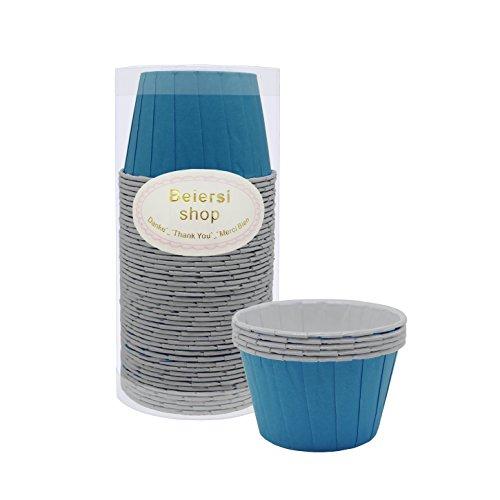 Beiersi 50Pcs Papier Kuchen Tasse Cupcake Fällen Liner Muffin Hohe Temperaturbeständige Backen Tassen (Blau)