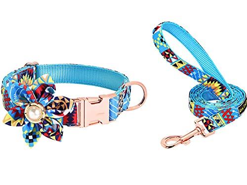 Collar de perro con correa de nailon impreso para perros pequeños, medianos y grandes, accesorio de flores (34-60 cm), color azul