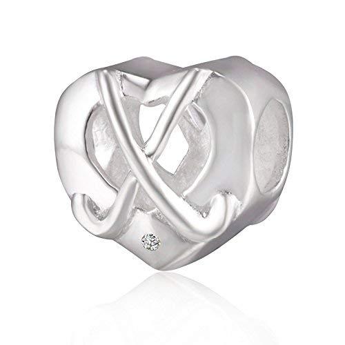 Choruslove Hockeyschläger Charm Herz 925 Sterling Silber Sport Charm Beads mit klarem CZ-Stein für Armband