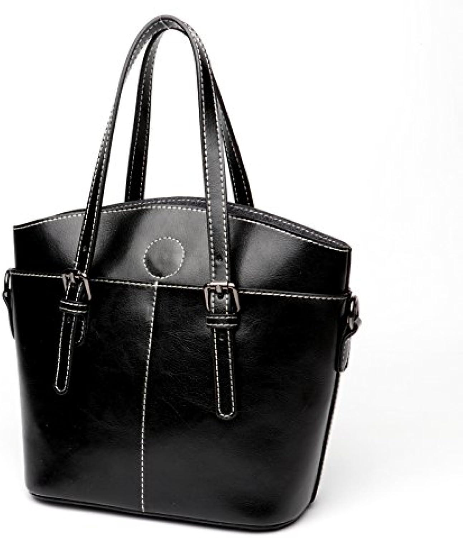 Zhanying 2018 Damen Handtaschen Coole Mode Mode Mode Handtaschen aus Leder Mode-Design Weibliche Rindsleder Tasche Große Kapazität Handtasche (Farbe   schwarz, Größe   M) B07L838614  Am wirtschaftlichsten df9181