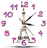 Reloj de pared Paris Concepto cosmético Reloj de pared contemporáneo Torre Eiffel Habitación de niña Maquillaje Moda Arte de pared Reloj de pared silencioso Regalos para ella Silencioso Fácil de leer