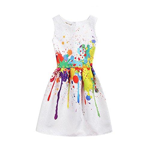 Toddler Girls Easter Dress Sleeveless Art Printed Casual Party Twirly Dresses Sundress for Kids