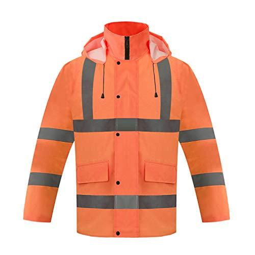 ZOJO High Visibility Winter Safety Jacket, Waterproof Jacket, (Large, Orange)