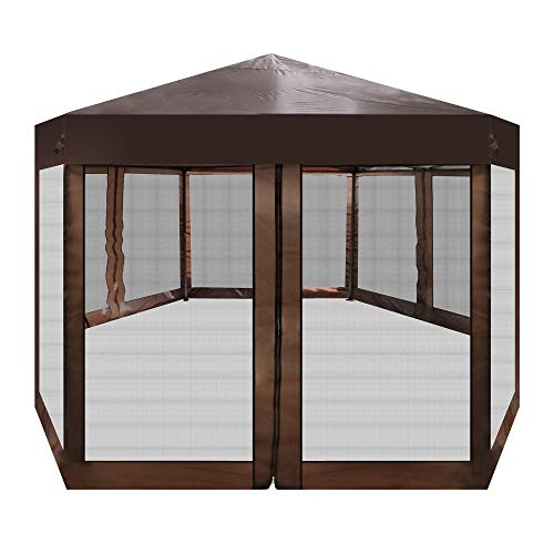 Vilobos 6.5 x 6.5 FT Outdoor Gazebo Patio Hexagonal Canopy Tent Sun Shade with Mosquito Netting and Carry Bag for Backyard Party (Brown)