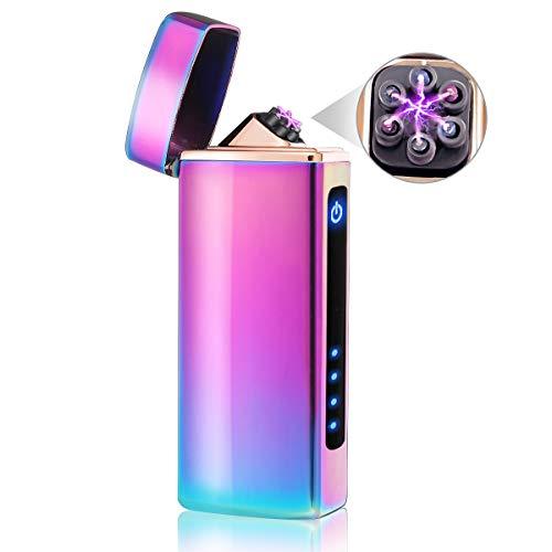 NASUM Lichtbogen Feuerzeug, USB-Elektro Feuerzeug, Elektronische Feuerzeug, Aufladbar/Winddicht/Lange Lebensdauer Plasma Feuerzeug Mit Batterieanzeige (Bunt)