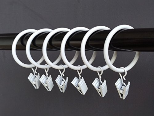 """T-Juan MM (1.5"""") 1.5 Inches Smooth Metal Curtain Rings with Clips (20, White)"""