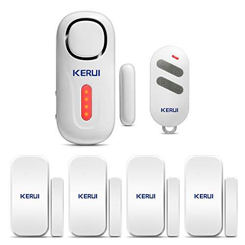 KERUI D2 Sensor de Alarma para Puertas y Ventanas con Sistema de Alarma inalámbrico para el hogar, 4 Zonas para el casa, Garaje, Oficina - 1 Alarma de Puerta - 1 Control Remoto - 4 sensores de Puerta