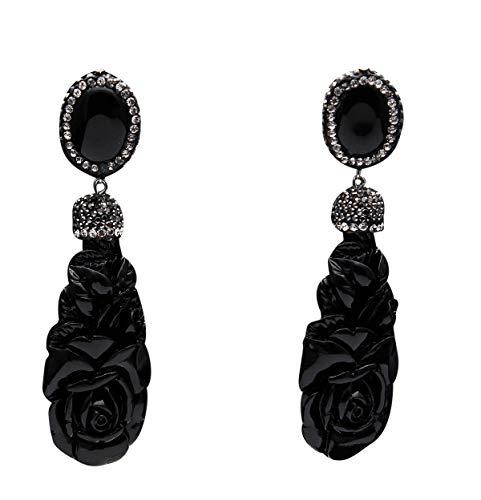 Gemsonclick Pendientes de gota y colgante de plata alemana con piedras preciosas de Bollywood inspiradas en la colección Indo-Western con estilo borla de regalo para amor, esposa, hermana, madre negro