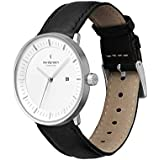 Nordgreen Philosopher Scandinavian Silver Men's Watch Analog 40mm (Large Face) with Black Leather Strap 10016