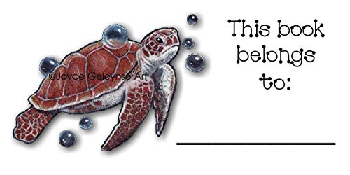 Bookplates, BOOK STICKERS For Kids, SEA TURTLE SWIMMING, BUBBLES, Color Pencil Art, This Book Belongs To