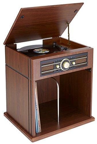BigBen Interactive TD104 - Giradiscos de Dos velocidades (33 y 45 RPM) Color marrón