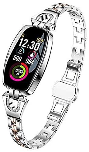 Smart Watch Kvinnor Vattentät och dammsäker för Android/IOS Activity Fitness Armband Smartwatch med 8 Sportlägen, Silver