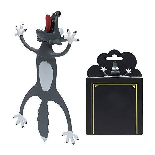 Marcador de livro de desenho animado 3D, marcador de livro de Natal para leitura, marcador de livro estéreo para crianças, estudantes, adolescentes, presentes de aniversário (lobo, 8 cm)