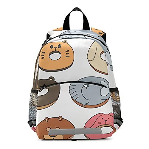ISAOA Vector Set de Animal Donut Mochila con riendas para niños y niñas, mochila infantil guardería, bolsa de viaje con clip para el pecho