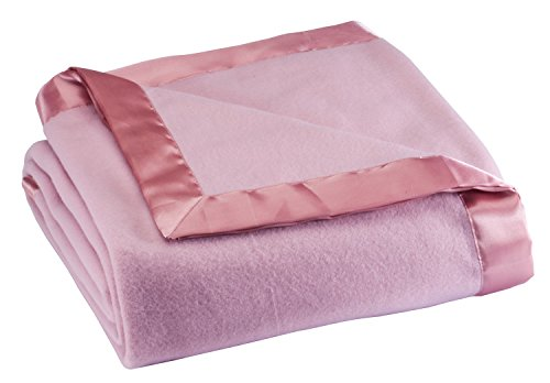 OakRidge Satin Fleece Blanket, Full/Queen, Twin or King Size – 100% Polyester Lightweight Fabric and Cozy Satin Binding Edges in Tightly Folding Travel Blanket, Rose