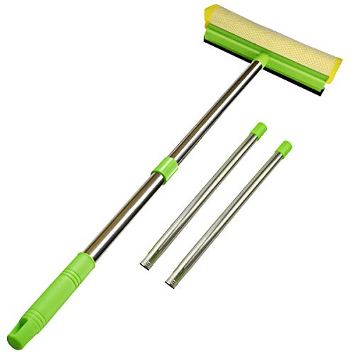 "ITTAHO Multi-Use Window Squeegee, 2 in 1 Squeegee Window Cleaner with Long Extension Pole, Sponge Car Window Squeegee with 58""Long Handle for Gas Station, Glass,Shower,Outdoor High Window Cleaning"