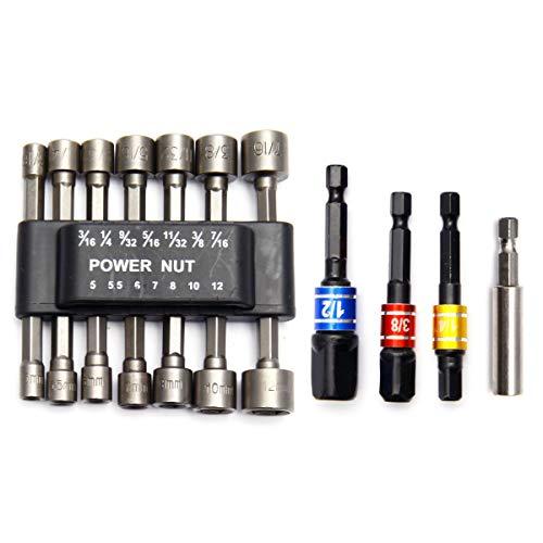 14-teilig Schraubendreher-Bits und 3 Steckschlüssel-Adapter, Sechskantschaft, Schlagschrauber-Bit-Set