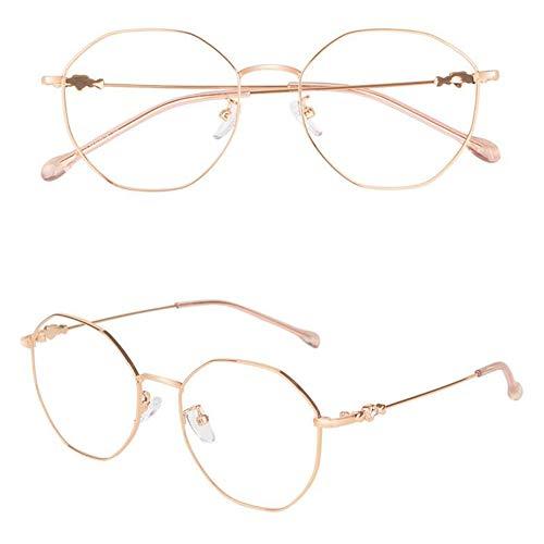 ELLENS Trendy Damen Lesebrille-Blaulicht-Blockierbrille-Metall-Rundrahmen-Anti-Ermüdung/Anti-Blendung/Klare Sicht (Lila/Pink/Roségold)