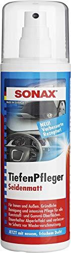 SONAX TiefenPfleger Seidenmatt (300 ml) Gründliche Reinigung, intensive Pflege und dauerhafter Schutz für alle Kunststoff- und Gummi-Oberflächen | Art-Nr. 03830410