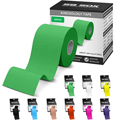 SB SOX Kinesiology Tape (16ft Uncut Roll) – Best Latex Free, Water Resistant Tape for Muscles & Joints – Perfect for Any Activity – Easy to Apply/Use, Works Great, Stays on for Several Days! (Green)
