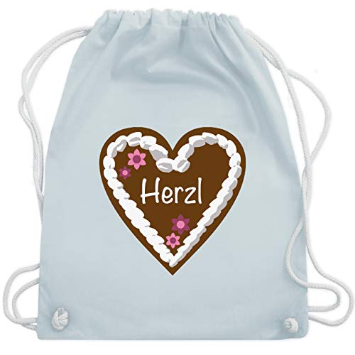 Oktoberfest & Wiesn Taschen - Lebkuchenherz Herzl - Unisize - Pastell Blau - handtasche oktoberfest damen - WM110 - Turnbeutel und Stoffbeutel aus Baumwolle