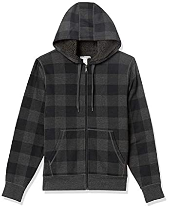 Amazon Essentials Sherpa Sudadera con Capucha y Cierre Completa Fashion-Hoodies, Carbón Cuadros Estilo búfalo, M