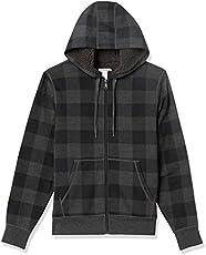 Amazon Essentials Men's Sherpa Lined Full-Zip Hooded Fleece Sweatshirt, Charcoal Buffalo Plaid, XX-Large