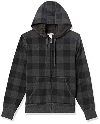 Amazon Essentials Sherpa Sudadera con Capucha y Cierre Completa Fashion-Hoodies, Charcoal Buffalo Plaid, US M (EU M)