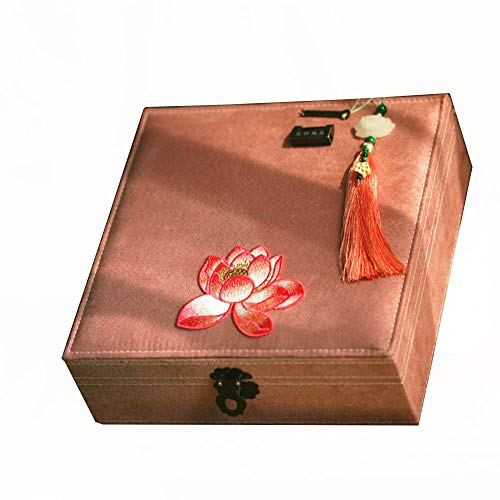 Haihf sieradendoosje, juwelendoosje, Chinees retro sieradendoosje, borduurwerk, koper, blokkering, halsketting, oorbellen, ring, opbergdoos, sieradendoosje