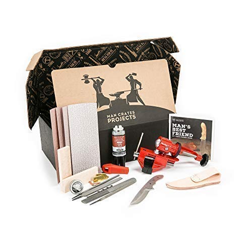 Man Crates Knife Making Kit – Awesome DIY Gift For Men – Includes Stainless-Steel Shawnee Skinner Blade, Maple Burl Handle, Brass Bolsters, Leather Sheath And Step-by-Step Knife Making Guide
