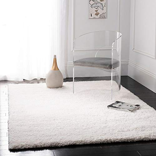 "Safavieh California Premium Shag Collection SG151-1010 2-inch Thick Area Rug, 5' 3"" x 7' 6"", White"