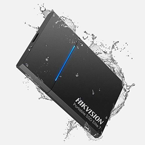 HIKVISION Elite 7, Disque Dur Externe SSD Portable 500 Go USB 3.2 Gen 2, jusqu'à 1060 Mo/s,avec Technologie NVMe,Disque Externe,ssd Extern,résistant à l'eau et à la poussière (Noir)