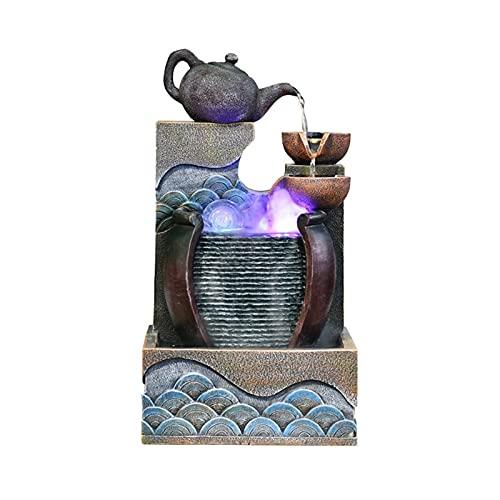 Fuente Agua Feng Shui Forma única de la fuente de escritorio de la fuente de escritorio de la bandeja de la resina de la resina del ornamento del paisaje con la cascada ligera - para la decoración de