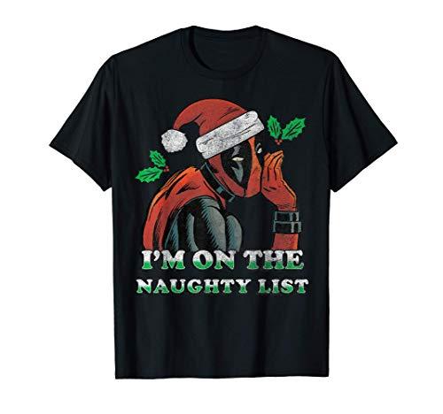 Marvel Deadpool Santa Secret Naughty List Christmas T-Shirt T-Shirt