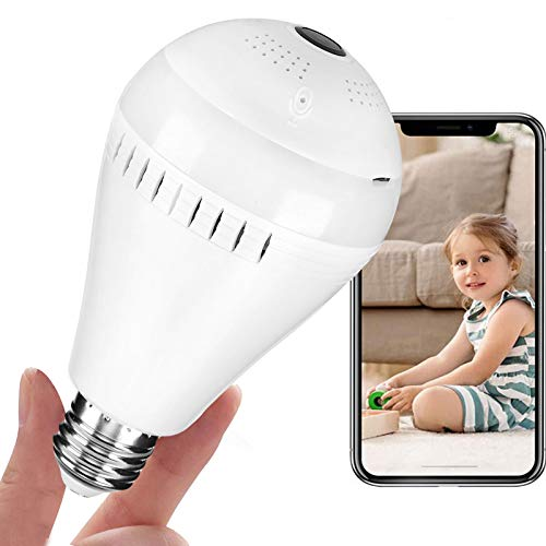 Security Bulb Camera Wireless 1080P Bulb Cameras with Light 360 Degree Panoramic Led Wi-Fi Fish Eye Security Cam with Night Vision Motion Detection Baby Pet Surveillance Support 2.4Ghz