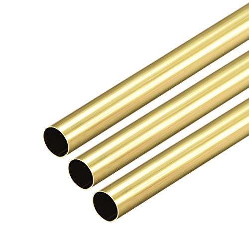 uxcell Brass Round Tube, 300mm Length 8mm OD 0.2mm Wall Thickness, Seamless Straight Pipe Tubing 3 Pcs