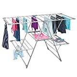 mDesign Tendedero plegable para ropa en color plata - ideal como secador para...