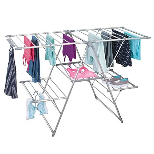 mDesign Tendedero plegable para ropa en color plata - ideal como secador para ropa extensible, secador de pie y secador de ropa - plegable, muchas posibilidades para guardar