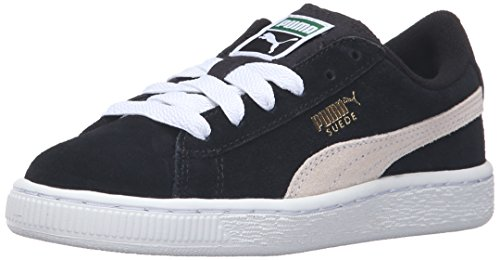 PUMA Kids' Suede Classic Sneaker, Black/White, 1 M US Little Kid