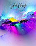 Sketchbook: Best blank white 120 pages with paint art multicolor cover for painting, drawing, writing, sketching and doodling, wide papers 8.5 x 11 - Children, Kids, Boyfriend & Girlfriend