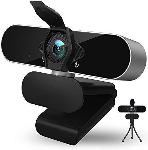Webcam HD 1080p con micrófono, USB, PC, cámara web, con trípode y cubierta de protección de datos, ordenador portátil, cámara de escritorio, cámara web para grabar llamadas, conferencias