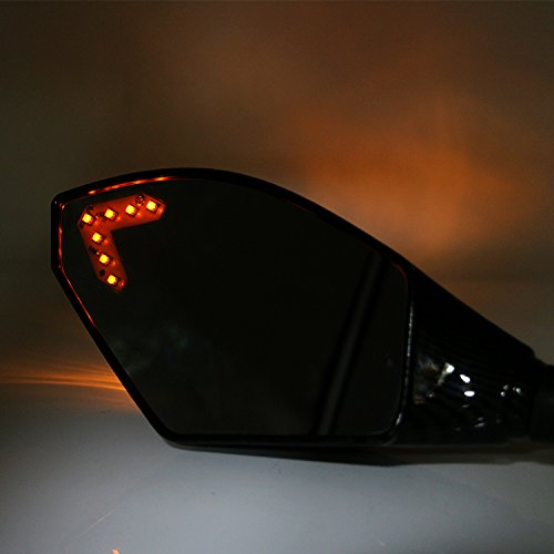 Motorcycle Integrated LED Turn Signal Mirrors with Front Yellow LED for Honda CBR 600 F4i 929 954 RR F1 F2 Hurricane Black