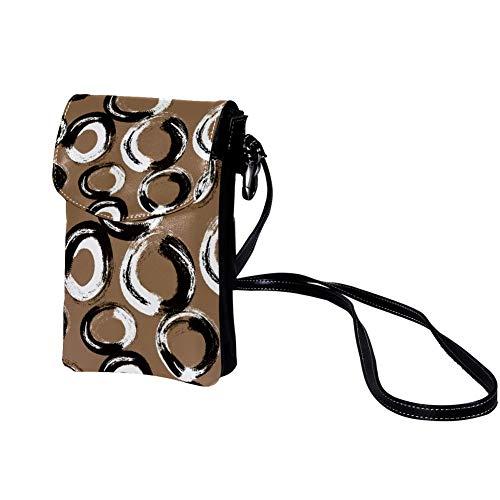Mini Bolso de Teléfono Móvil Anillo blanco y negro Bandolera Mujer Niña Pequeño Bolsa de Hombro Con múltiples ranuras para tarjetas 19x12x2cm