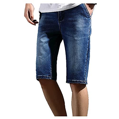 N\P Pantalones cortos elásticos sueltos de cinco puntos de verano delgados rectos casuales de mezclilla