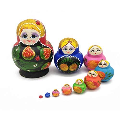 ULTNICE Matryoshka Puppe Traditionelle Russische Puppe Handbemalte Nistpuppe Babuschka Spielzeug Holzdekoration Geschenkpuppe 10Pcs