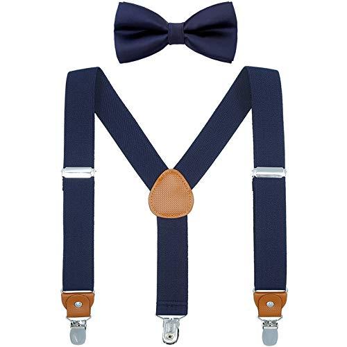 WELROG Kinder Hosenträger Fliege Sets - Y-Form Einstellbar Hosenträger mit Die Seide Fliegen Poison Idea für Jungen und Mädchen (Marineblau + Marineblaue Fliege)