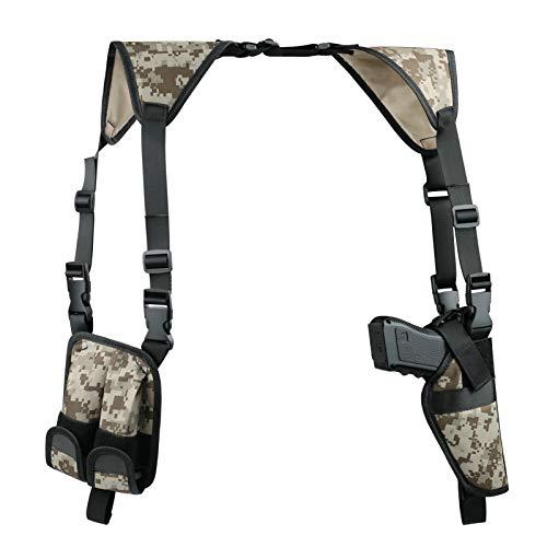 Twod Shoulder Holster Ambidextrous Vertical Concealed Carry Shoulder Holster with Dual Magazine Holder Fits Most Pistols or Handgun