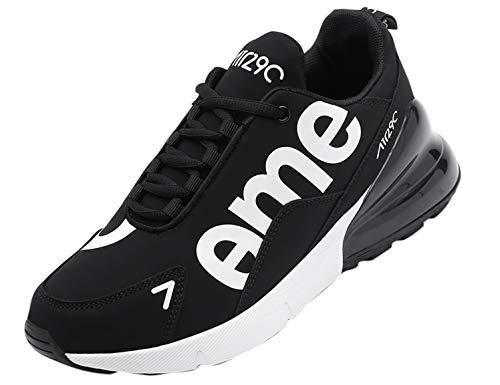 SINOES Femme Homme Basket Mode Chaussures de Sports Course Sneakers Fitness Outdoor Run Shoes Running Respirantes Athlétique Multicolore Respirante Noir Blanc 42 EU